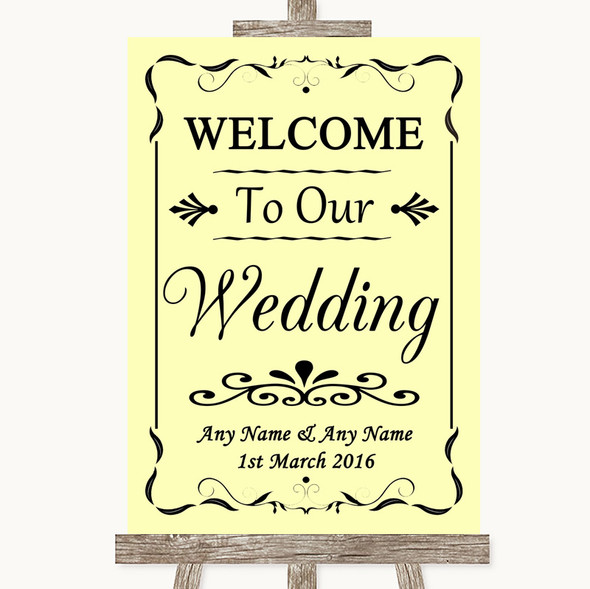 Yellow Welcome To Our Wedding Personalised Wedding Sign