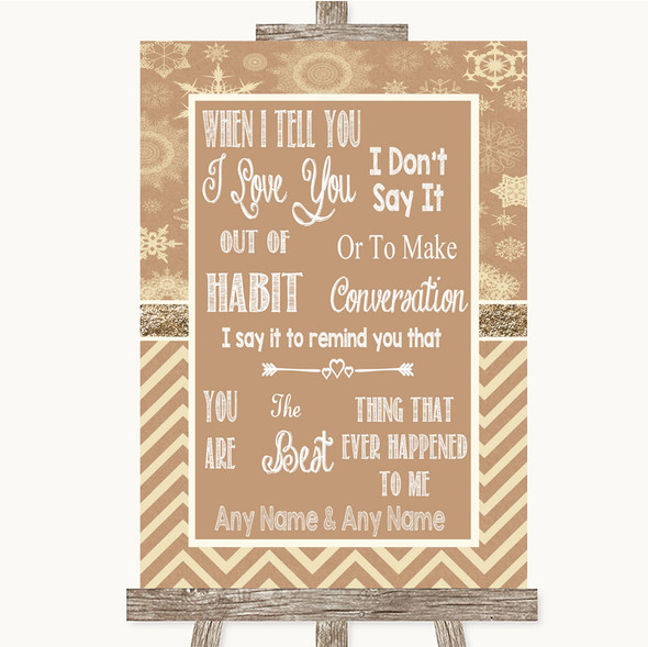 Brown Winter When I Tell You I Love You Personalised Wedding Sign