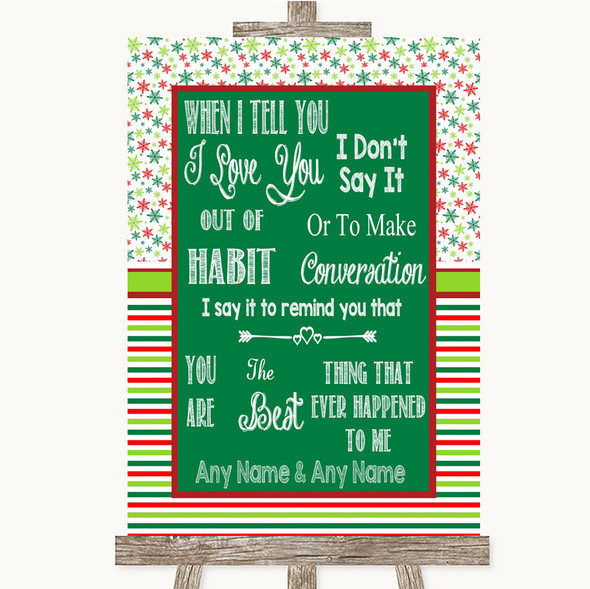 Red & Green Winter When I Tell You I Love You Personalised Wedding Sign
