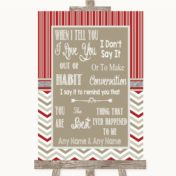 Red & Grey Winter When I Tell You I Love You Personalised Wedding Sign