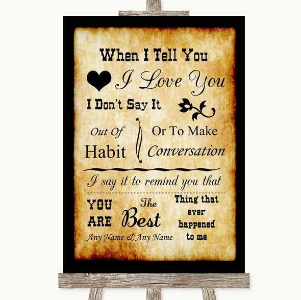 Western When I Tell You I Love You Personalised Wedding Sign