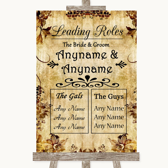 Autumn Vintage Who's Who Leading Roles Personalised Wedding Sign