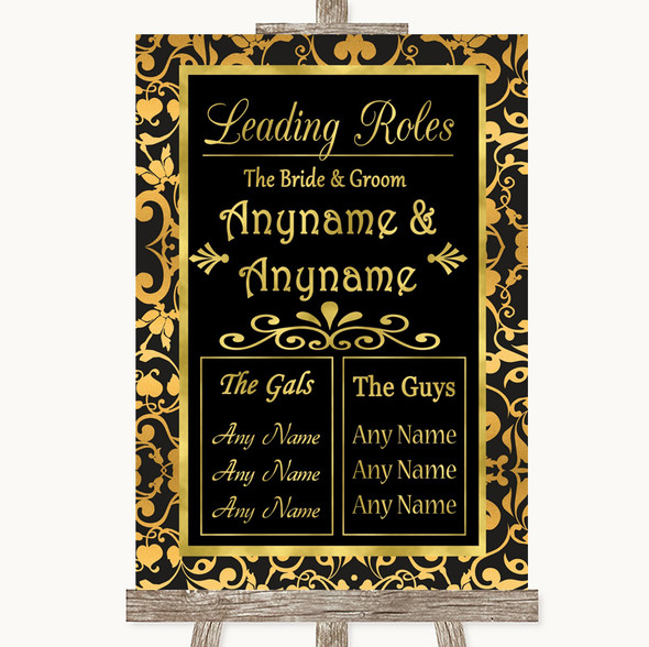 Black & Gold Damask Who's Who Leading Roles Personalised Wedding Sign