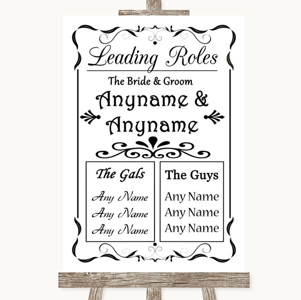 Black & White Who's Who Leading Roles Personalised Wedding Sign