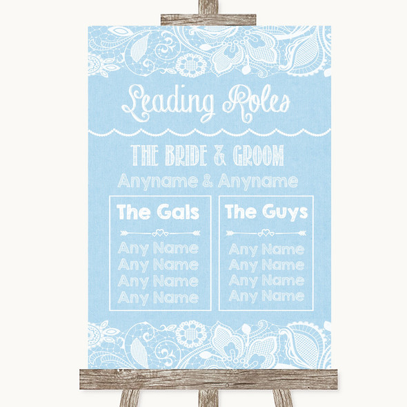 Blue Burlap & Lace Who's Who Leading Roles Personalised Wedding Sign
