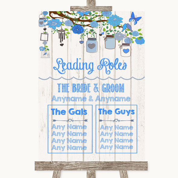 Blue Rustic Wood Who's Who Leading Roles Personalised Wedding Sign