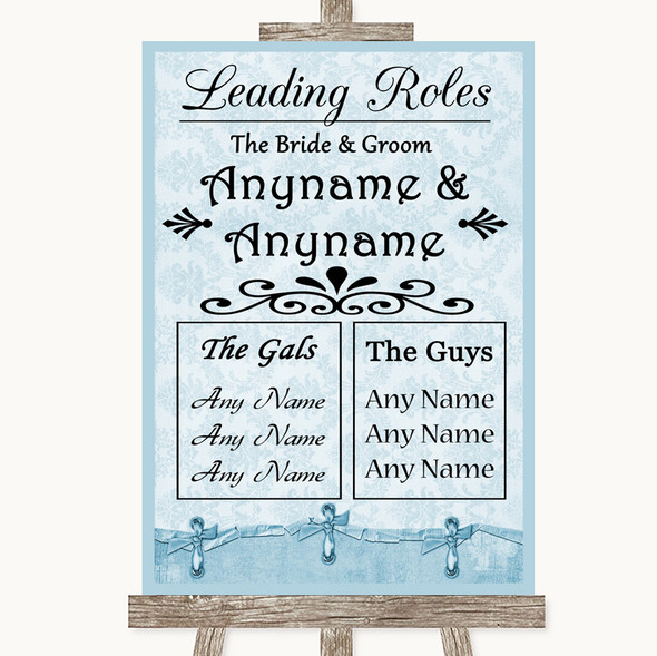 Blue Shabby Chic Who's Who Leading Roles Personalised Wedding Sign