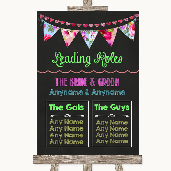 Bright Bunting Chalk Who's Who Leading Roles Personalised Wedding Sign