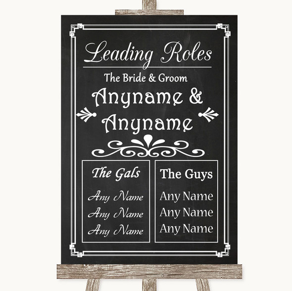 Chalk Style Who's Who Leading Roles Personalised Wedding Sign