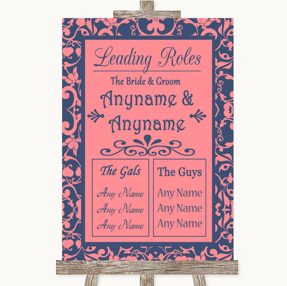 Coral Pink & Blue Who's Who Leading Roles Personalised Wedding Sign