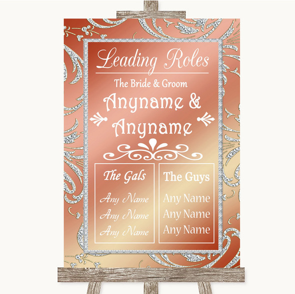 Coral Pink Who's Who Leading Roles Personalised Wedding Sign