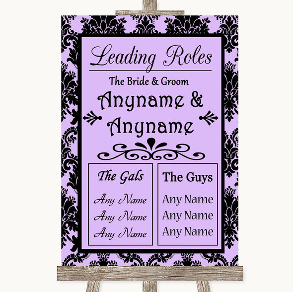 Lilac Damask Who's Who Leading Roles Personalised Wedding Sign