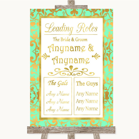 Mint Green & Gold Who's Who Leading Roles Personalised Wedding Sign
