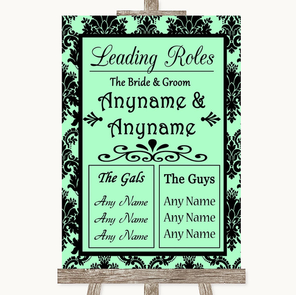 Mint Green Damask Who's Who Leading Roles Personalised Wedding Sign