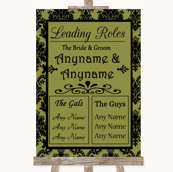 Olive Green Damask Who's Who Leading Roles Personalised Wedding Sign