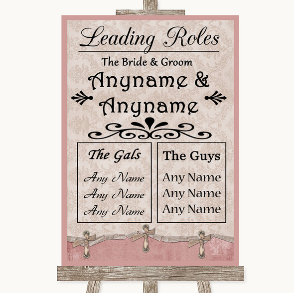 Pink Shabby Chic Who's Who Leading Roles Personalised Wedding Sign