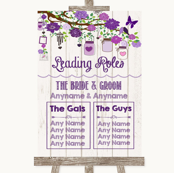 Purple Rustic Wood Who's Who Leading Roles Personalised Wedding Sign