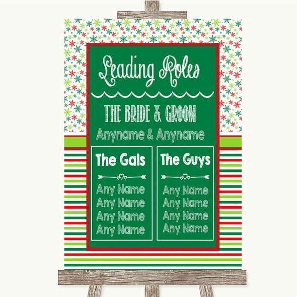 Red & Green Winter Who's Who Leading Roles Personalised Wedding Sign