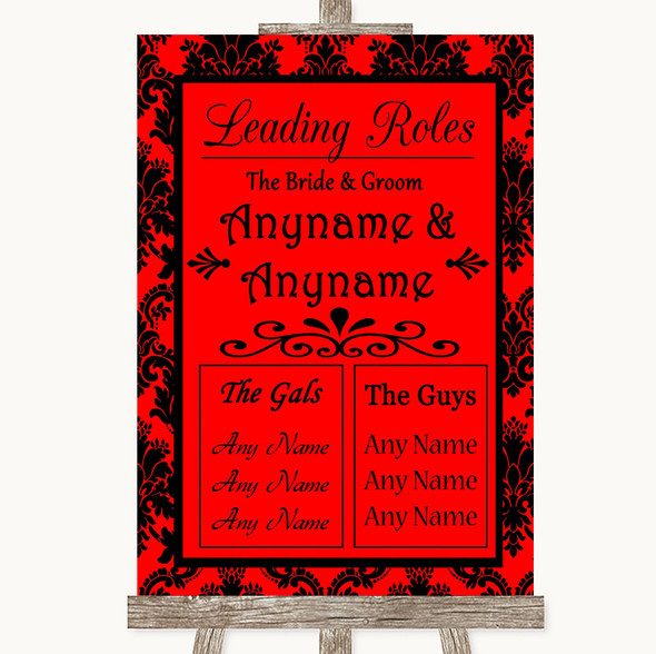 Red Damask Who's Who Leading Roles Personalised Wedding Sign