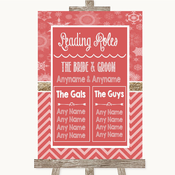 Red Winter Who's Who Leading Roles Personalised Wedding Sign