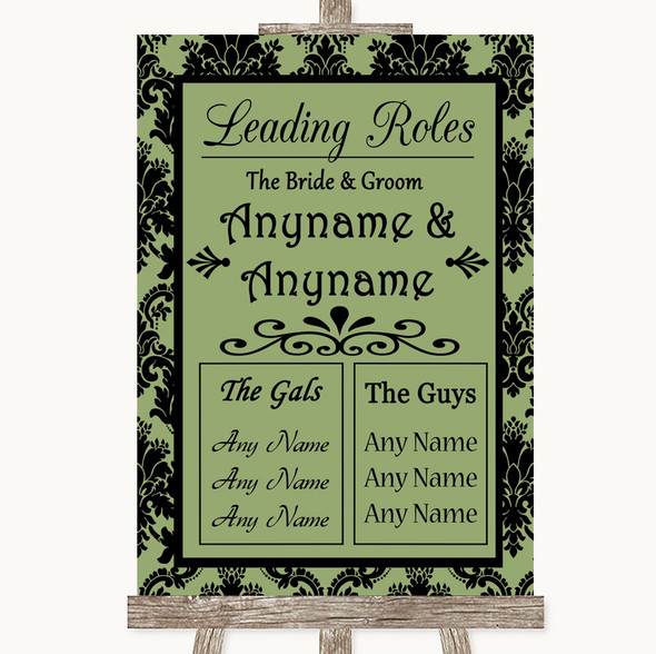 Sage Green Damask Who's Who Leading Roles Personalised Wedding Sign