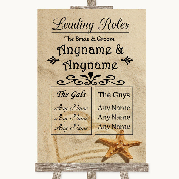 Sandy Beach Who's Who Leading Roles Personalised Wedding Sign