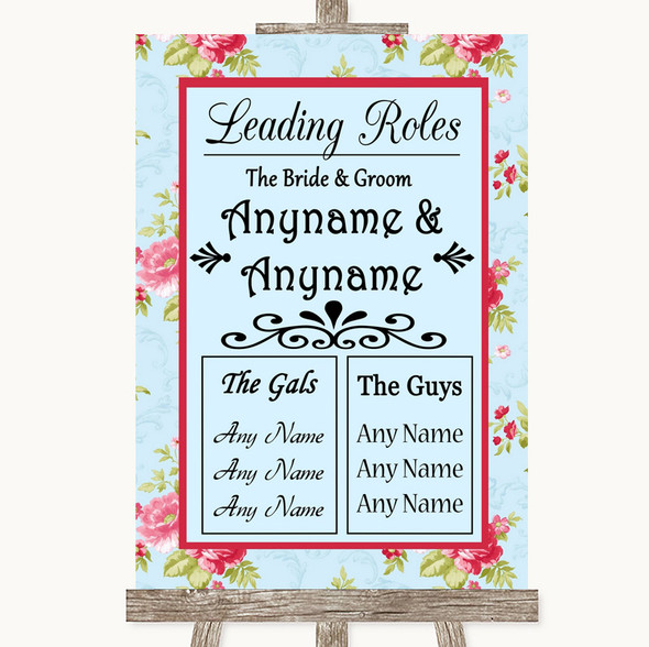 Shabby Chic Floral Who's Who Leading Roles Personalised Wedding Sign