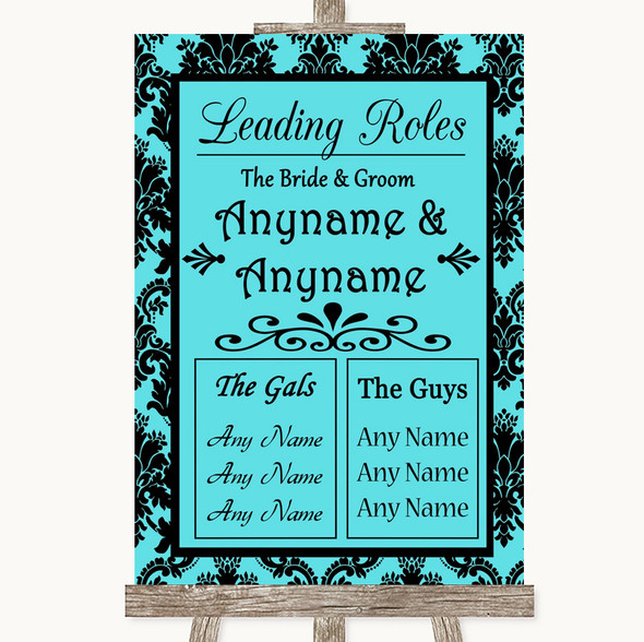 Tiffany Blue Damask Who's Who Leading Roles Personalised Wedding Sign
