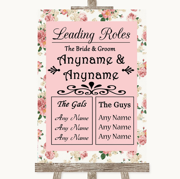 Vintage Roses Who's Who Leading Roles Personalised Wedding Sign