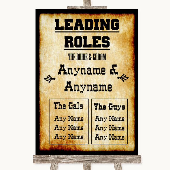 Western Who's Who Leading Roles Personalised Wedding Sign