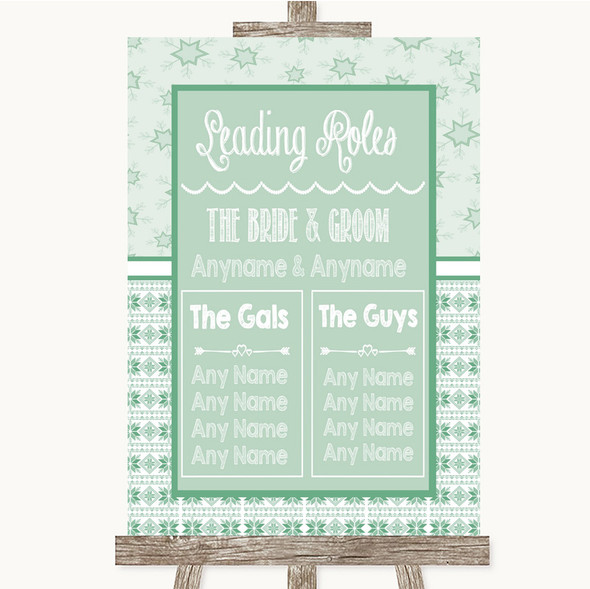 Winter Green Who's Who Leading Roles Personalised Wedding Sign