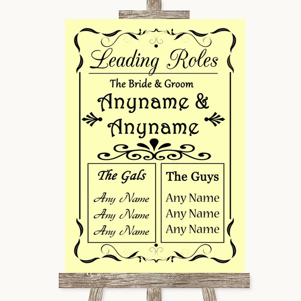 Yellow Who's Who Leading Roles Personalised Wedding Sign