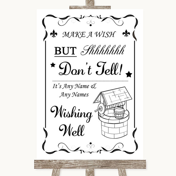 Black & White Wishing Well Message Personalised Wedding Sign