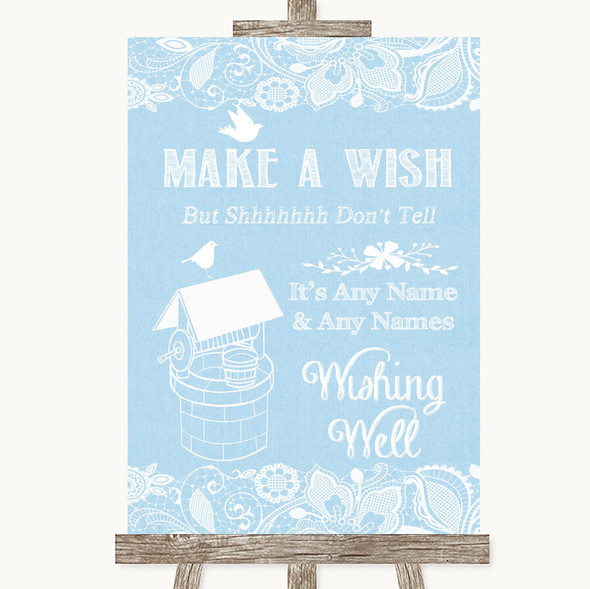 Blue Burlap & Lace Wishing Well Message Personalised Wedding Sign