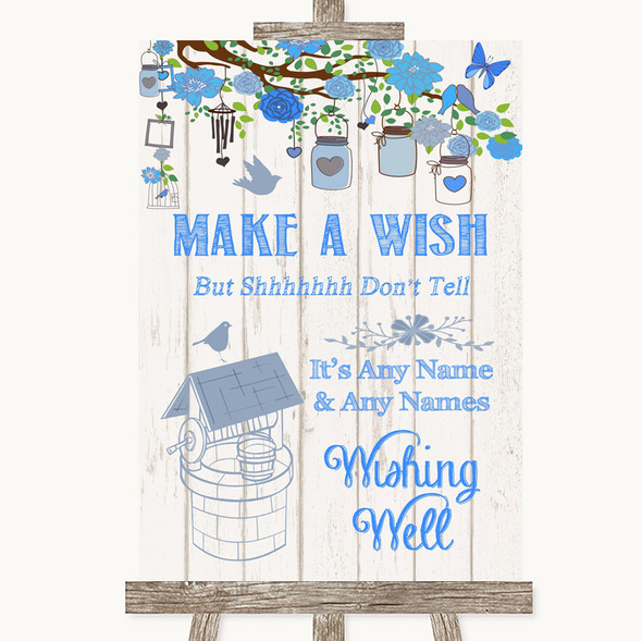 Blue Rustic Wood Wishing Well Message Personalised Wedding Sign