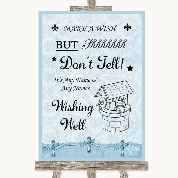 Blue Shabby Chic Wishing Well Message Personalised Wedding Sign