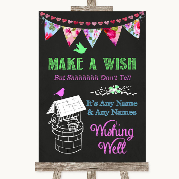 Bright Bunting Chalk Wishing Well Message Personalised Wedding Sign