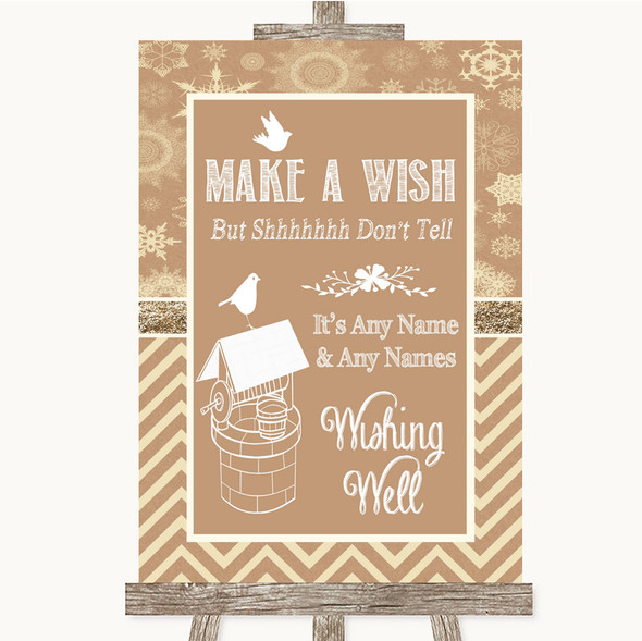 Brown Winter Wishing Well Message Personalised Wedding Sign