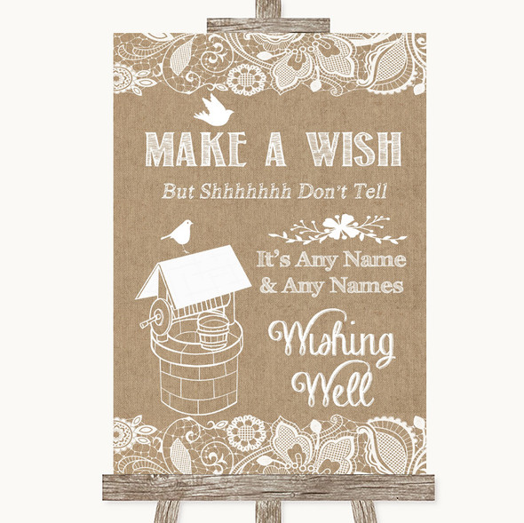 Burlap & Lace Wishing Well Message Personalised Wedding Sign