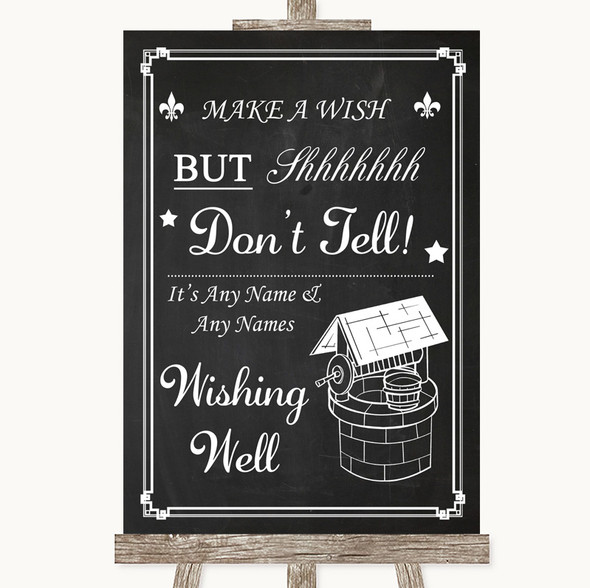 Chalk Style Wishing Well Message Personalised Wedding Sign