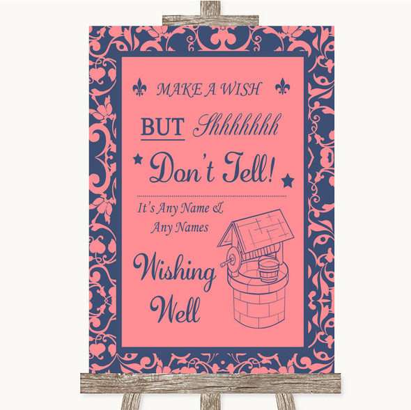 Coral Pink & Blue Wishing Well Message Personalised Wedding Sign
