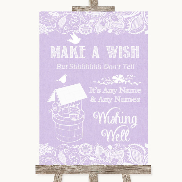 Lilac Burlap & Lace Wishing Well Message Personalised Wedding Sign