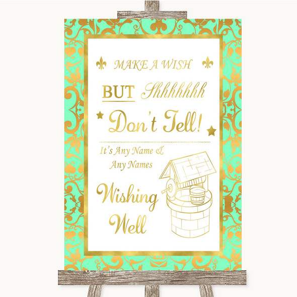 Mint Green & Gold Wishing Well Message Personalised Wedding Sign