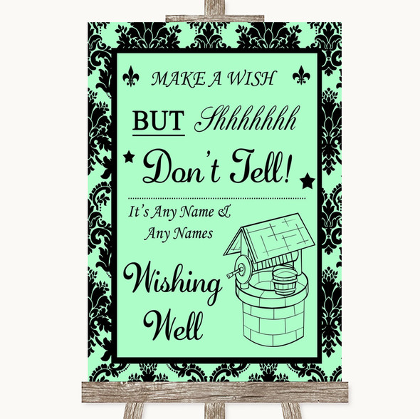 Mint Green Damask Wishing Well Message Personalised Wedding Sign