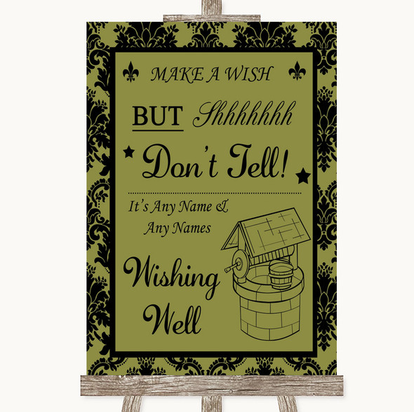 Olive Green Damask Wishing Well Message Personalised Wedding Sign