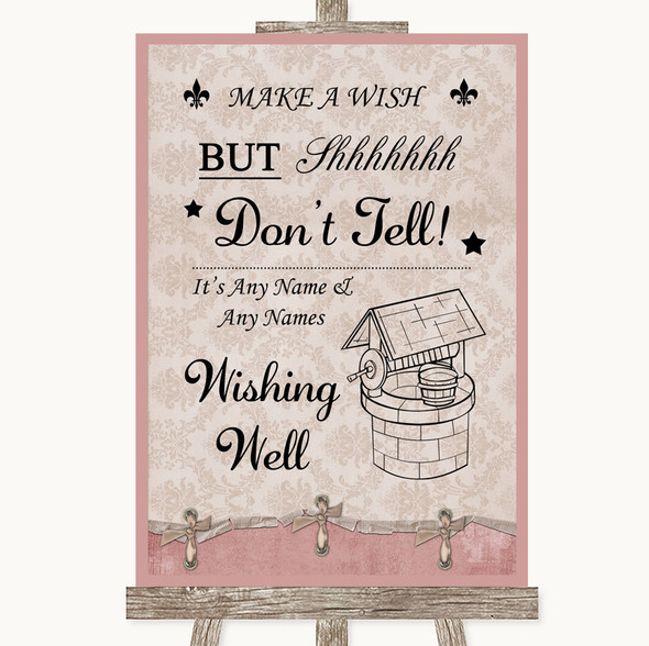 Pink Shabby Chic Wishing Well Message Personalised Wedding Sign