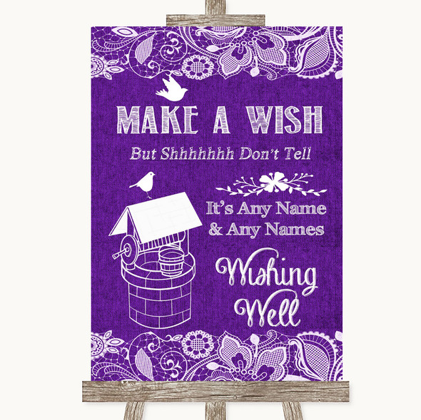Purple Burlap & Lace Wishing Well Message Personalised Wedding Sign