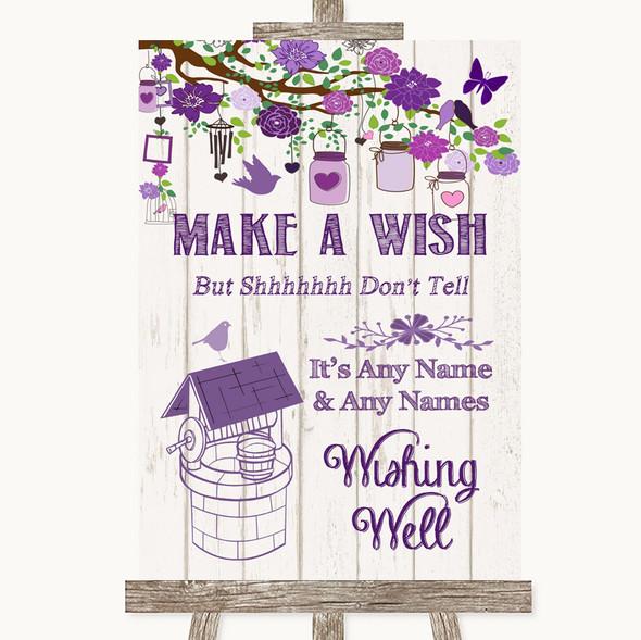 Purple Rustic Wood Wishing Well Message Personalised Wedding Sign