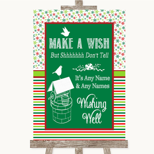 Red & Green Winter Wishing Well Message Personalised Wedding Sign