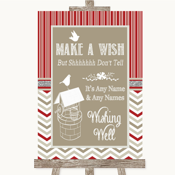 Red & Grey Winter Wishing Well Message Personalised Wedding Sign